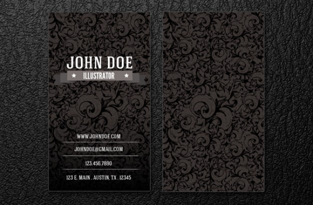Intrincate business card template in dark vintage style