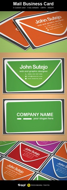 mail business card template in green and orange etc