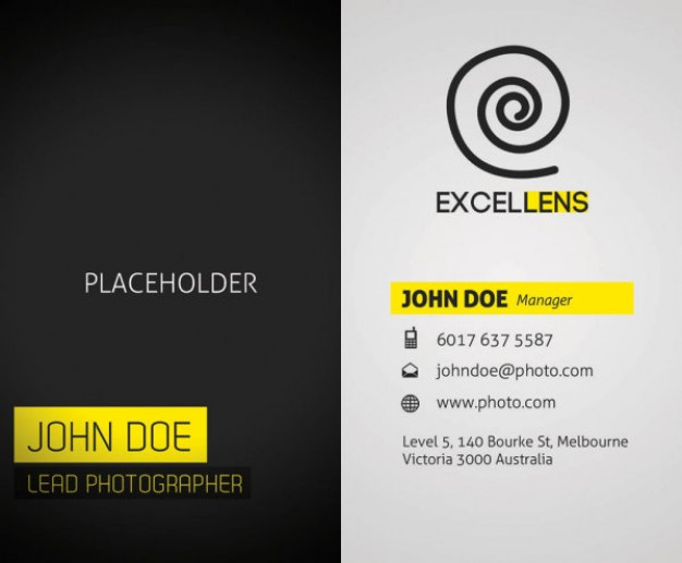 Negative business card template material in dark and light