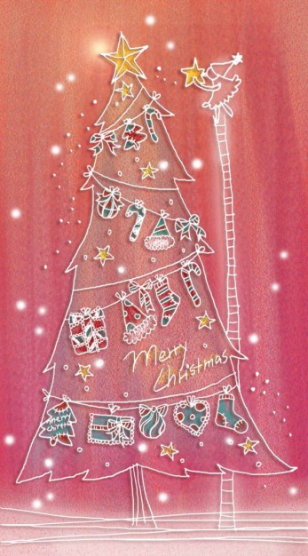 pastels christmas tree illustration layered painted by hand