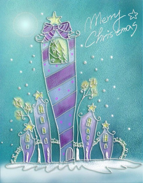 pastels hand painted christmas illustration layered with abstract sweet building