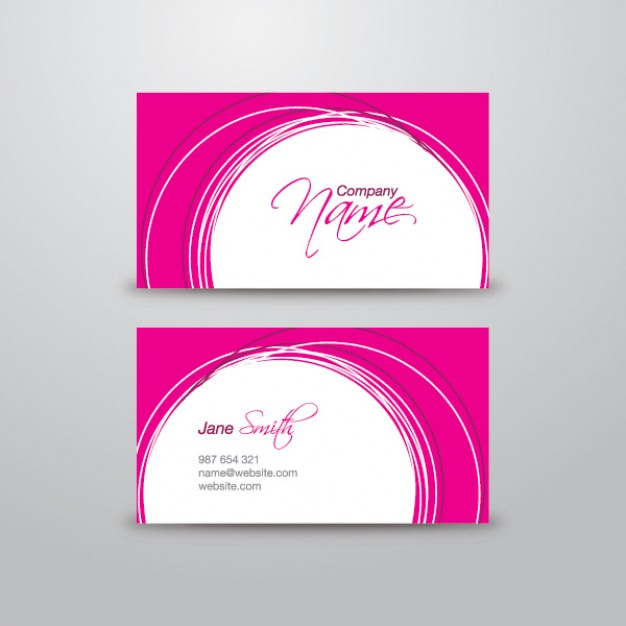 pink business card template with white circle and pink border