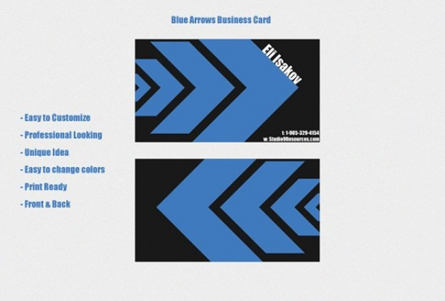 professional business card templates with blue arrows and black background
