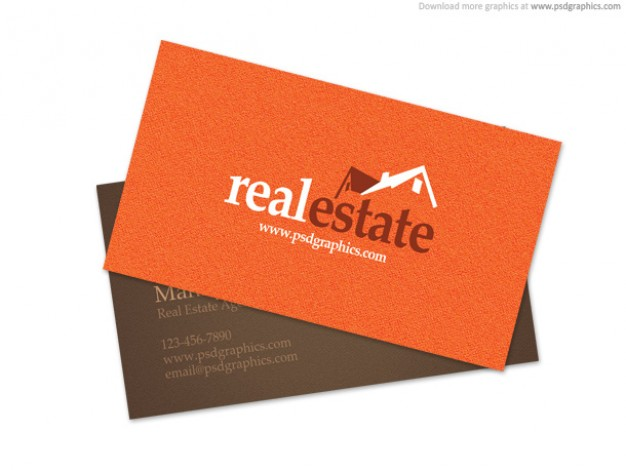 real estate business card in orange background