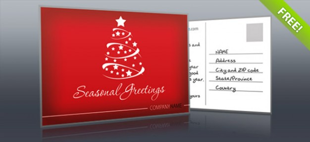 red postcard for Christmas holiday