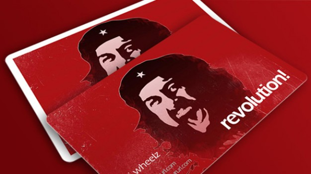 revolution business card with red background and portrait