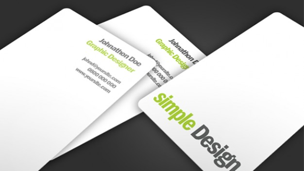 simple design business card in white style with dark background