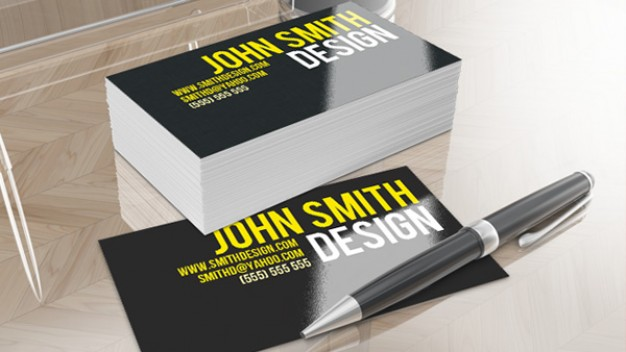 smithy clean business card with blue dark background and yellow sign