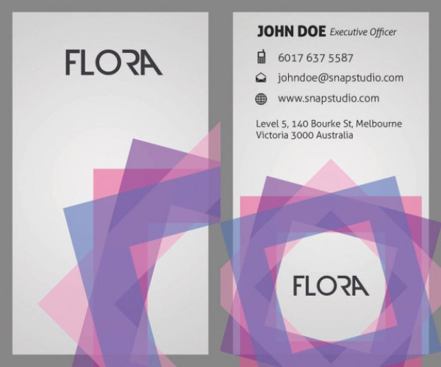 sophisticated business card template layered material with colorful grid circle