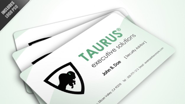 taurus logo business card over light blue background