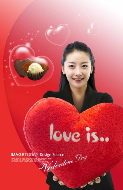valentine day theme layered material that girl hang with red heart figure