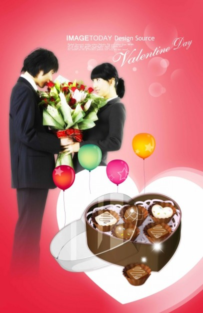 valentine day theme layered material with couple of lovers and chocolate