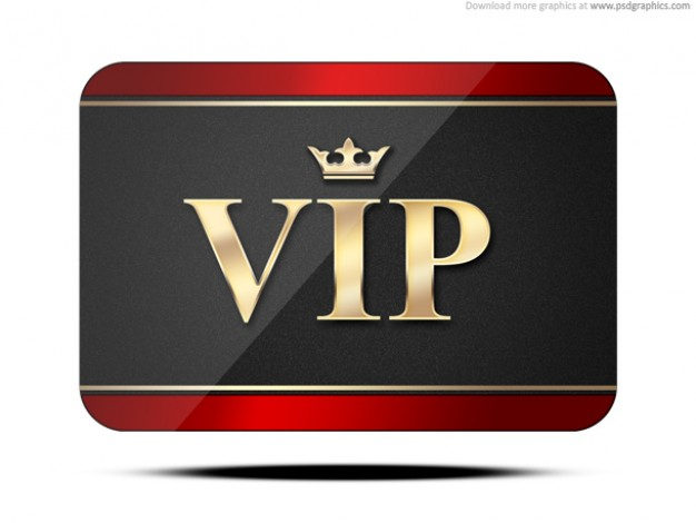 vip card with golden letter and crown