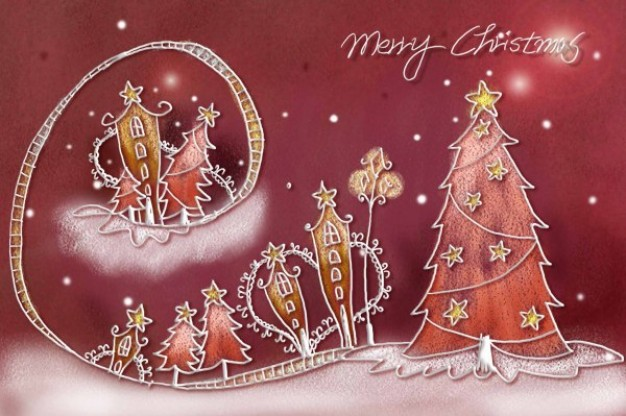 wonderful pastels christmas illustration layered painted by hand