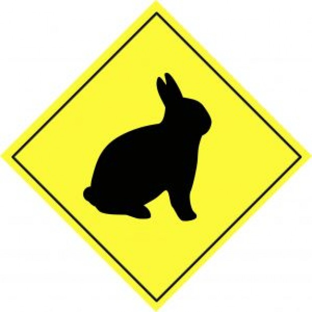 Rabbit animal Easter Bunny warning sign about Hare Easter