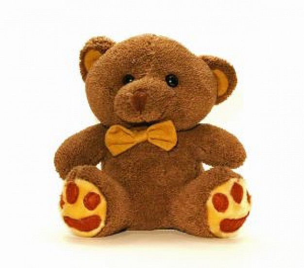 brown teddy bear toy sitting in front view
