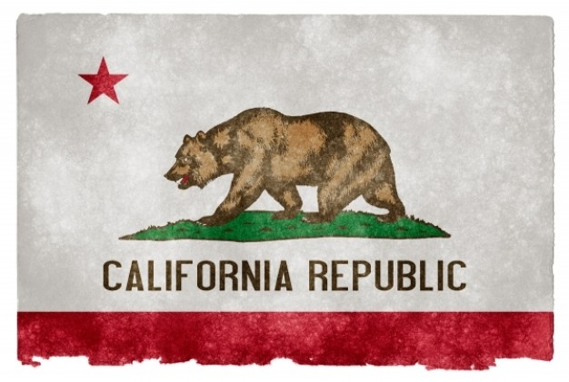 california grunge flag with bear star over gray background