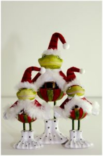 christmas frogs with Christmas clothing and hats