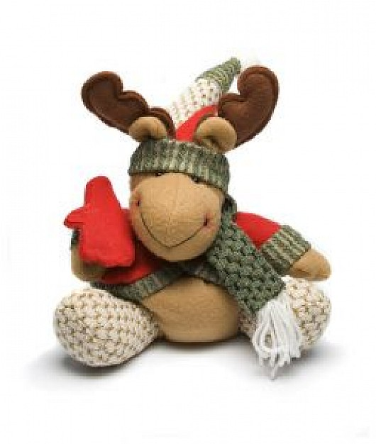 christmas moose toy with neckcloth