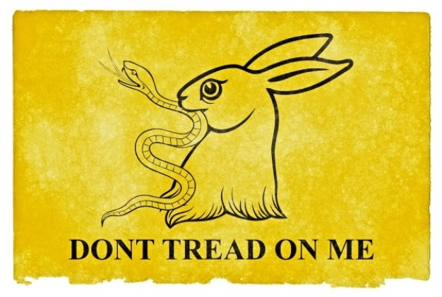 gadsden parody grunge flag with rabbit and snake and yellow background
