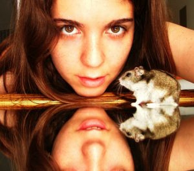girl and my hamster on mirror looking at you