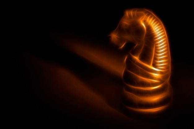golden horse of chess with light and shadow