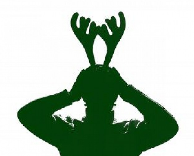 green people with buckhorn silhouette for getting ready