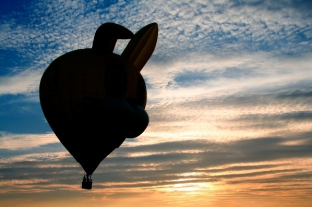 hot air balloon silhouette flying over sunset sky