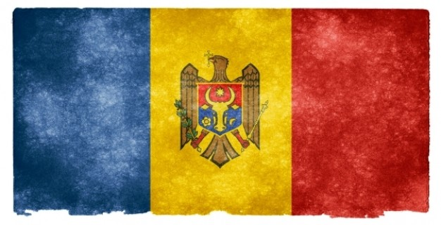moldova grunge flag in three color and eagle