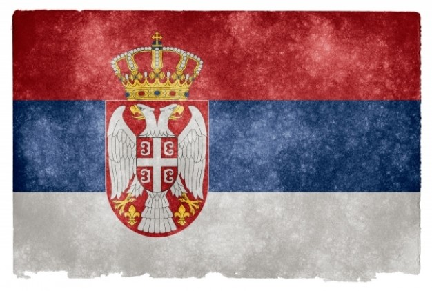 serbia grunge flag with three colour lines and crown