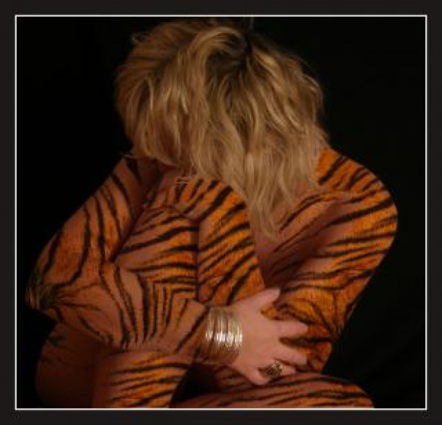 tiger woman in coloured drawing or pattern