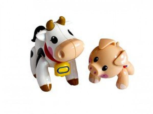 toy animal including cow and dog