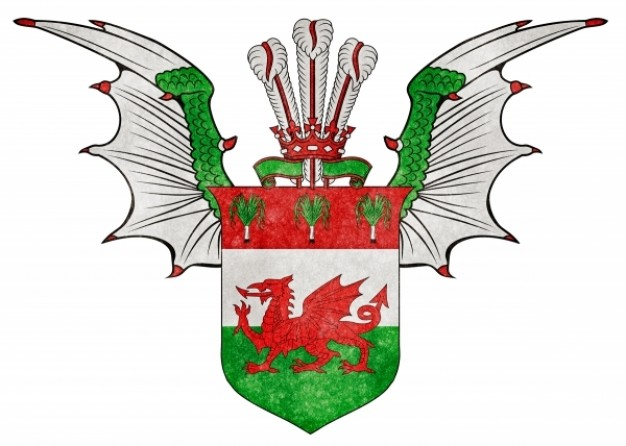 welsh custom grunge emblem with wings and crown