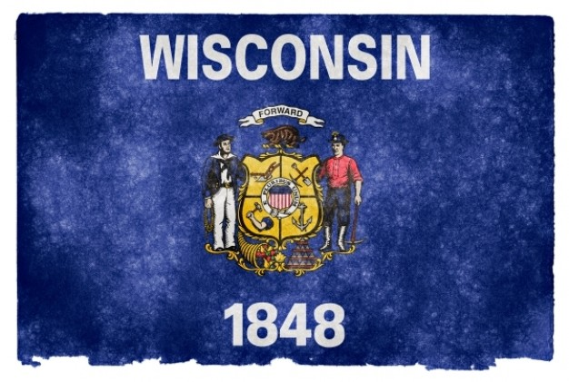 wisconsin grunge flag over blue background