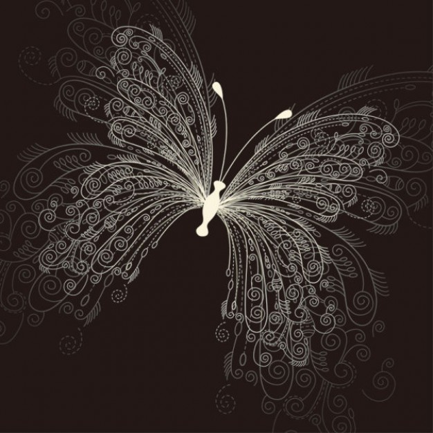 beautiful butterfly pattern with light body and Swirled line
