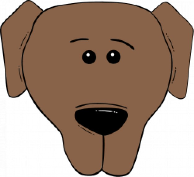brown dog face cartoon sketch in front view