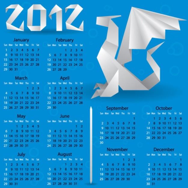 calendars with origami dragon blue background
