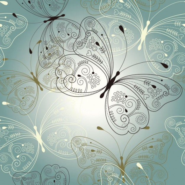 pattern with ornamental butterflies over blue background