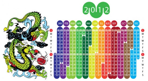 year of dragons beside colorful calendar