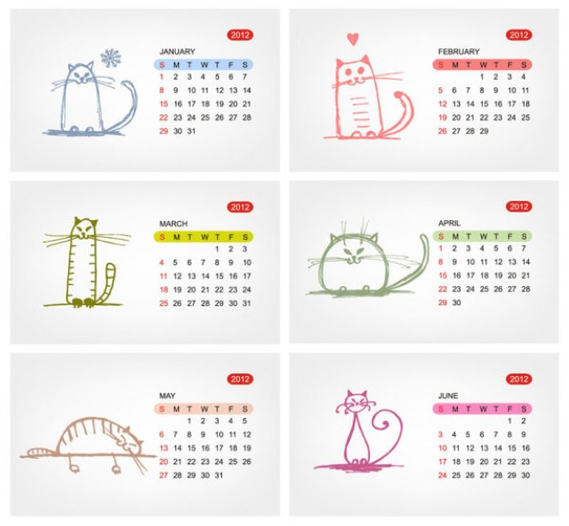 calendars 2012 with different color doodles cats