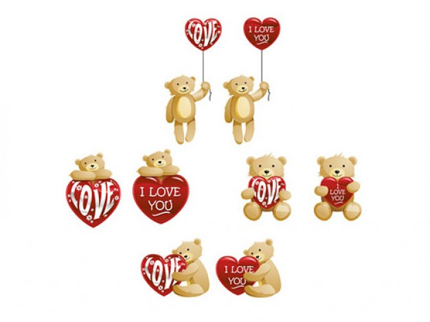 the pack of teddy bears with heart shaped material