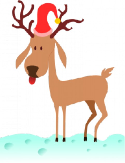 a cartoon reindeer with Christmas hat