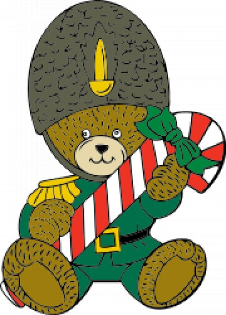christmas guard bear with Christmas gift gun