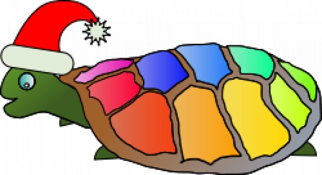 funny turtle with colorful shell and santa hat