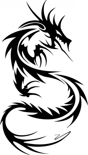 pointy dragon ornament in black line