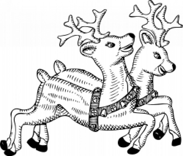 couple reindeer running for Christmas