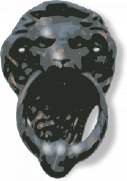 metallic door knocker with lion face