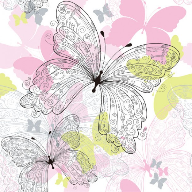 ornamental butterflies in pink pattern with white background