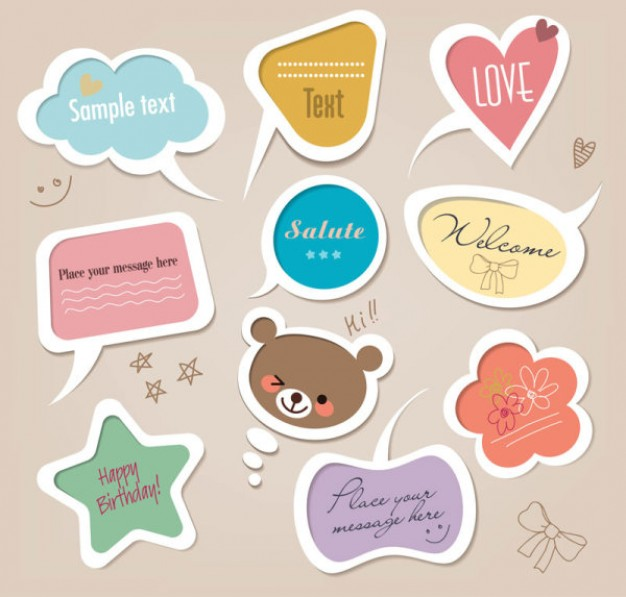speech bubbles in many shapes or lables