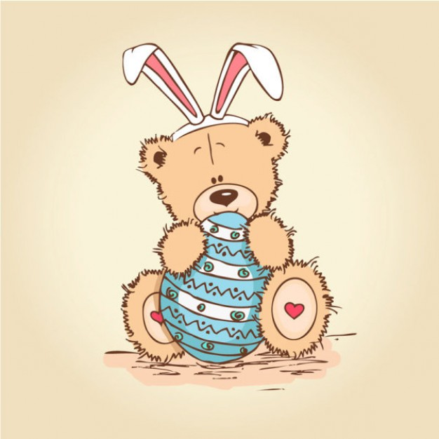 teddy bear with bunny ears sitting and hugging an egg for easter design